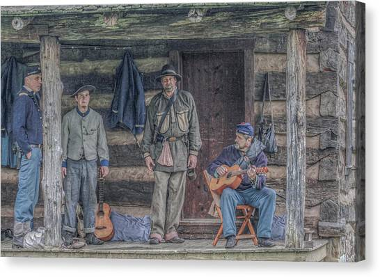 Army Of The Potomac Canvas Print - 40th Pennsylvania In Camp Entertaining Prisoners by Randy Steele