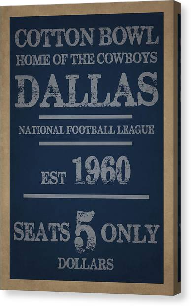 Football Teams Canvas Print - Dallas Cowboys by Joe Hamilton
