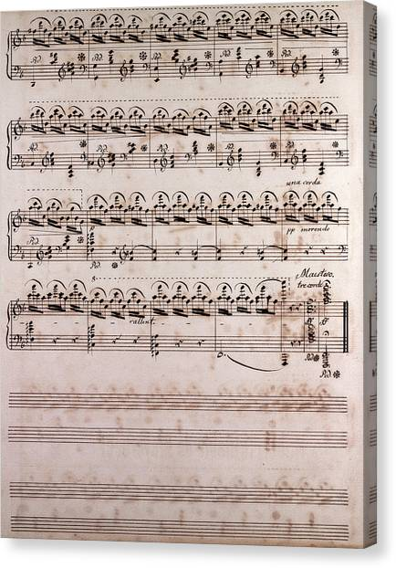 Corde Canvas Print - Handwritten Sheet Music, Music Notes, 19th Century by Litz Collection