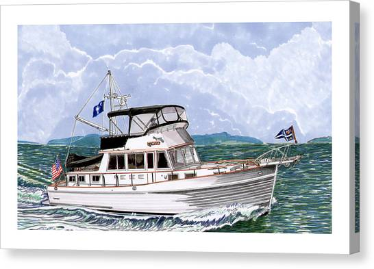 Canvas Print - 42 Foot Grand Banks Motoryacht by Jack Pumphrey