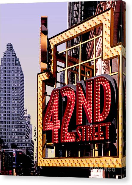 42nd Street New York City Canvas Print by Linda  Parker