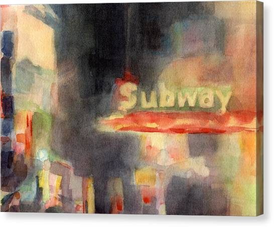 Subway Canvas Print - 42nd Street Subway Watercolor Painting Of Nyc by Beverly Brown