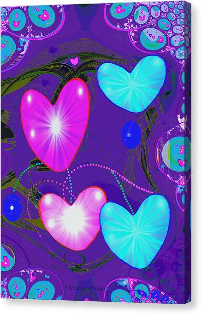 Lyrical Abstraction Canvas Print - 472 -  Valentine Hearts  ... by Irmgard Schoendorf Welch
