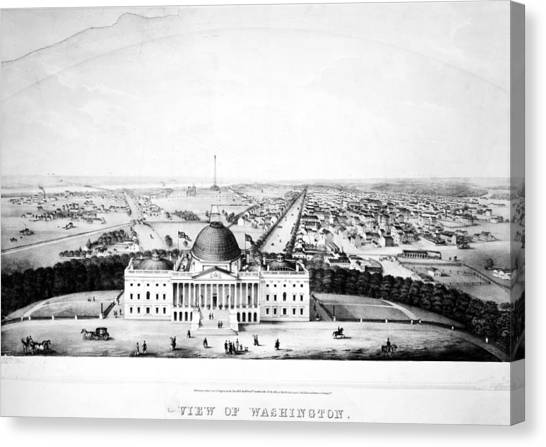 D.c. United Canvas Print - United States Capitol, 1850  by Granger