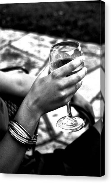 Bachelorette Canvas Print - Wine - B/w by Victoria Fischer