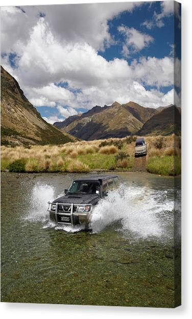 4x4 Canvas Print - 4wd Crossing The Mararoa River by David Wall