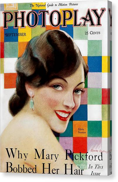Gloria Swanson Canvas Print - 1920s Usa Photoplay Magazine Cover by The Advertising Archives