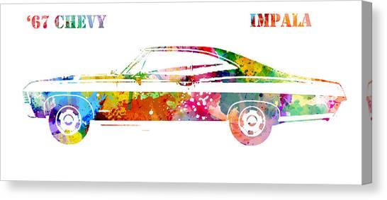 67 Canvas Print - 67 Chevy Impala by Patricia Lintner