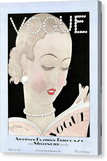 Updo Canvas Print - A Vintage Vogue Magazine Cover Of A Woman by Georges Lepape