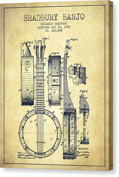 Banjos Canvas Print - Banjo Patent Drawing From 1882 - Vintage by Aged Pixel