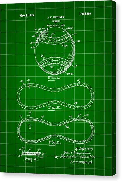 Fast Ball Canvas Print - Baseball Patent 1927 - Green by Stephen Younts