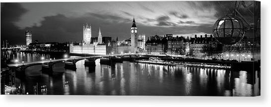 London Eye Canvas Print - Buildings Lit Up At Dusk, Big Ben by Panoramic Images