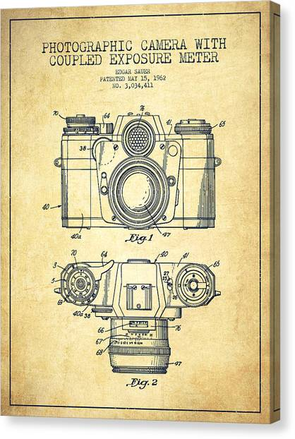 Vintage Camera Canvas Print - Camera Patent Drawing From 1962 by Aged Pixel