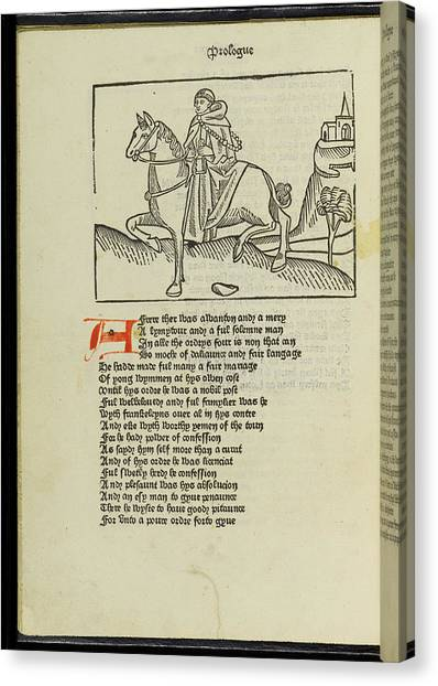 Pilgrims Canvas Print - Canterbury Tales by British Library