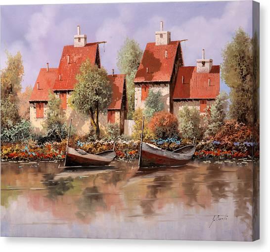 Ponds Canvas Print - 5 Case E 2 Barche by Guido Borelli