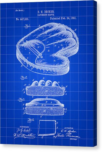 Fast Ball Canvas Print - Catcher's Glove Patent 1891 - Blue by Stephen Younts