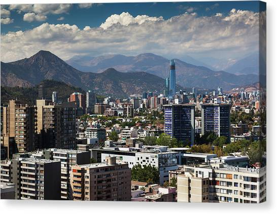 Chile, Santiago, City View Canvas Print by Walter Bibikow