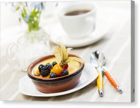 Sweet Tea Canvas Print - Creme Brulee Dessert by Elena Elisseeva