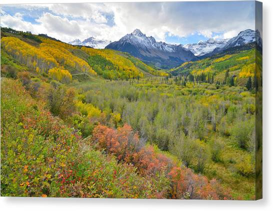 Dallas Creek Road Fall Colors Canvas Print