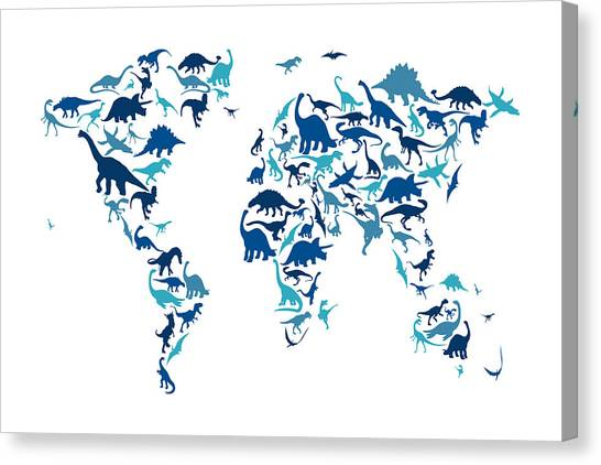 Triceratops Canvas Print - Dinosaur Map Of The World Map by Michael Tompsett