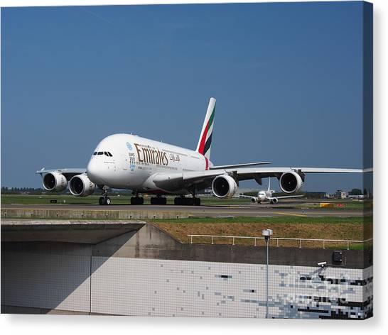 Emirates Airbus A380 Canvas Print