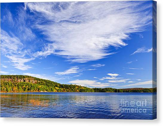 Blue Sky Canvas Print - Fall Forest And Lake by Elena Elisseeva