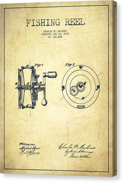 Fly Fishing Canvas Print - Fishing Reel Patent From 1874 by Aged Pixel