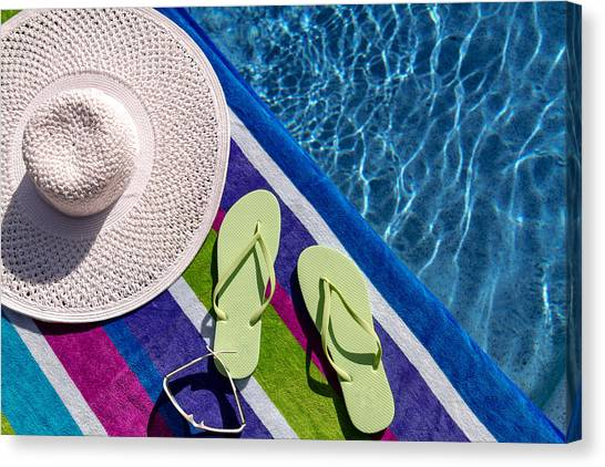 e9ba36f3b841 Thong Sandals Canvas Print - Flip Flops By The Pool by Teri Virbickis
