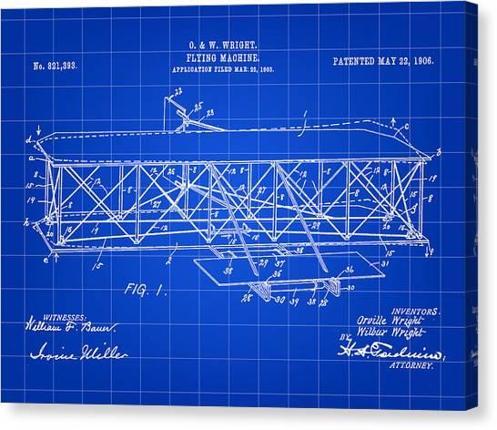 Flying Machine Patent 1903 - Blue Canvas Print