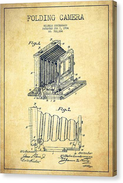 Vintage Camera Canvas Print - Folding Camera Patent Drawing From 1904 by Aged Pixel