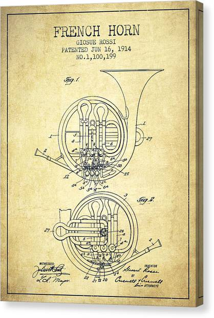 Brass Instruments Canvas Print - French Horn Patent From 1914 - Vintage by Aged Pixel