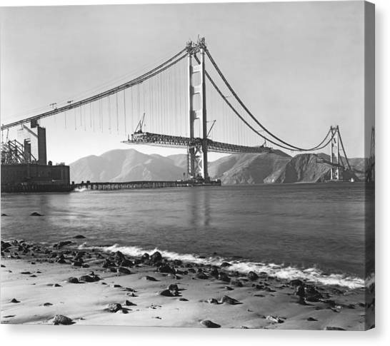 Architecture Canvas Print - Golden Gate Bridge by Underwood Archives