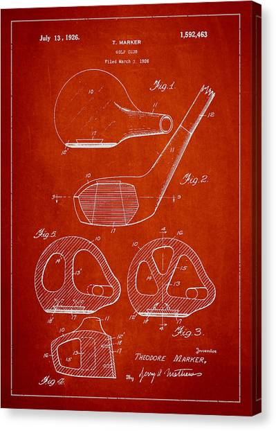 Pga Canvas Print - Golf Club Patent Drawing From 1926 by Aged Pixel