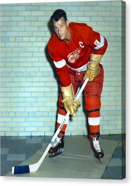 Gordie Howe Canvas Print - Gordie Howe by Retro Images Archive