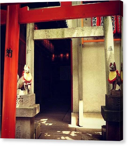 Foxes Canvas Print - Hanazono Inari Shrine by My Senx