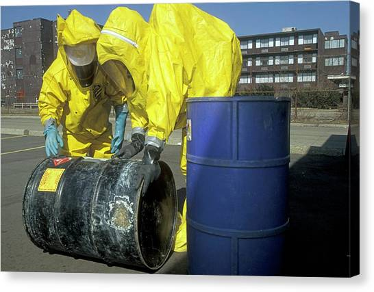 Protective Clothing Canvas Print - Hazardous Materials Cleanup Training by Jim West