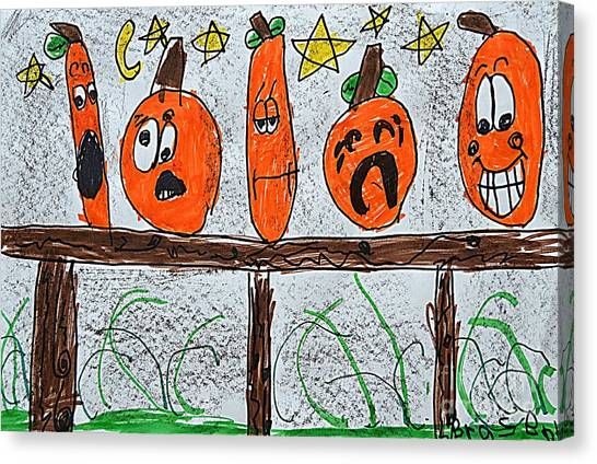 5 Little Pumpkins Canvas Print