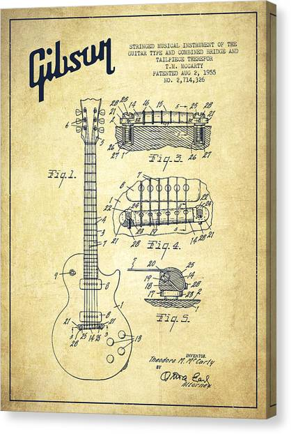 Acoustic Guitars Canvas Print - Mccarty Gibson Les Paul Guitar Patent Drawing From 1955 - Vintage by Aged Pixel