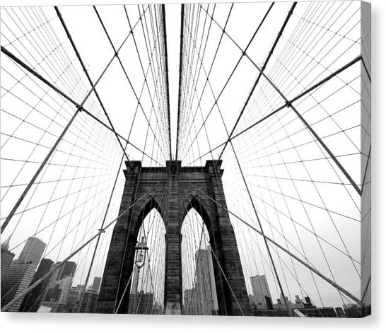 Black Canvas Print - Nyc Brooklyn Bridge by Nina Papiorek