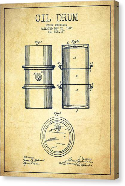 Oil Rigs Canvas Print - Oil Drum Patent Drawing From 1905 by Aged Pixel