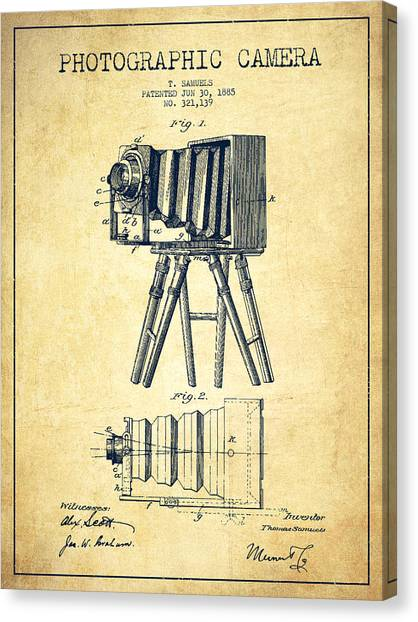 Vintage Camera Canvas Print - Photographic Camera Patent Drawing From 1885 by Aged Pixel