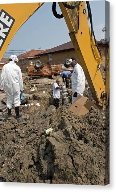 Utility Canvas Print - Repairing Hurricane Katrina Damage by Jim West