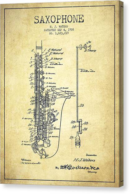 Brass Instruments Canvas Print - Saxophone Patent Drawing From 1928 by Aged Pixel
