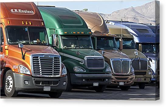 Semi Truck Fleet Canvas Print