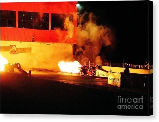 Skyview Drags Night Of Fire 2007 Canvas Print by Vicki Hopper