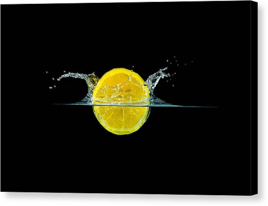 Splashing Lemon Canvas Print