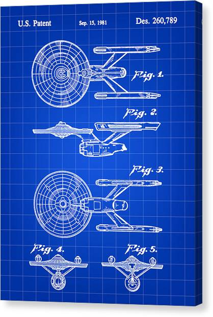 Spock Canvas Print - Star Trek Uss Enterprise Toy Patent 1981 - Blue by Stephen Younts