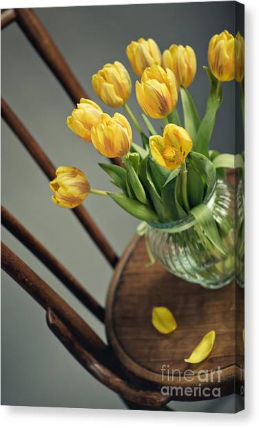 Yellow Tulips Canvas Print - Still Life With Yellow Tulips by Nailia Schwarz