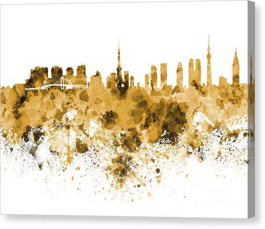 Tokyo Skyline Canvas Print - Tokyo Skyline In Watercolor On White Background by Pablo Romero