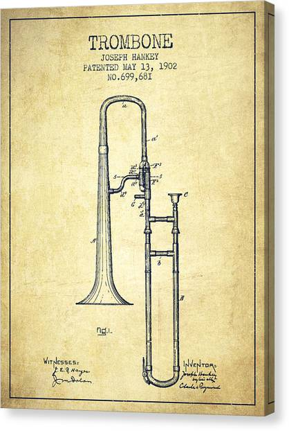 Brass Instruments Canvas Print - Trombone Patent From 1902 - Vintage by Aged Pixel